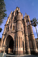 Beautiful color architecture of the famous Parish Church in San Miguel de Allende Mexico .