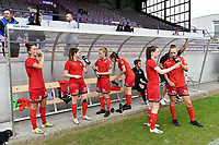 team of Zulte Waregem  pictured during the warming up of a female soccer game between SV Zulte - Waregem and Club Brugge YLA on the fourth matchday of the 2021 - 2022 season of the Belgian Scooore Womens Super League , saturday 11 of September 2021  in Harelbeke , Belgium . PHOTO SPORTPIX | DIRK VUYLSTEKE