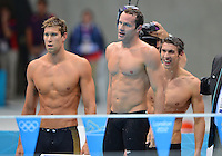 August 04, 2012..Matt Grevers, Brendan Hansen and Michael Phelps watch teammate Nathan Adrian lead during 4x100m Medley Relay at the Aquatics Center on day eight of 2012 Olympic Games in London, United Kingdom.