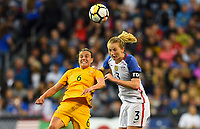 Seattle, WA - Thursday July 27, 2017: Chloe Logarzo, Samantha Mewis during a 2017 Tournament of Nations match between the women's national teams of the United States (USA) and Australia (AUS) at CenturyLink Field.