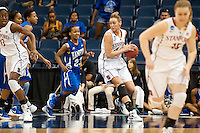 NORFOLK, VA--Joslyn Tinkle grabs a rebound against Hampton University at the Ted Constant Convocation Center at Old Dominion University in Norfolk, VA in the first round of the 2012 NCAA Championships. The Cardinal advanced with a 73-51 win to play West Virginia on Monday, March 19.