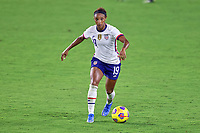 18th February 2021, Orlando, Florida, USA;  United States defender Crystal Dunn (19) dribbles the ball during a SheBelieves Cup game between Canada and the United States on February 18, 2021 at Exploria Stadium in Orlando, FL.