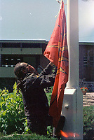 1990 FILE PHOTO (Exact date unknown):  OKA Crisis -  Barricade<br /> <br /> <br /> <br /> <br /> <br /> PHOTO :  Agence Quebec Presse - <br /> Robert Galbraith