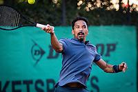 Hilversum, The Netherlands,  August 18, 2020,  Tulip Tennis Center, NKS, National Senior Championships, Men's  Single 35+,   Richard Lim (NED)<br /> Photo: www.tennisimages.com/Henk Koster