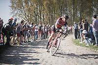Daniel Oss (ITA/BMC) leading solo coming out of sector 11: Mons-en-Pévèle <br /> <br /> 115th Paris-Roubaix 2017 (1.UWT)<br /> One Day Race: Compiègne › Roubaix (257km)