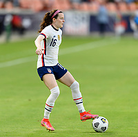 HOUSTON, TX - JUNE 10: Rose Lavelle #16 of the United States looks to pass the ball during a game between Portugal and USWNT at BBVA Stadium on June 10, 2021 in Houston, Texas.