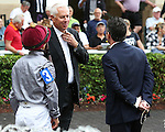HALLANDALE BEACH, FL - JANUARY 14:  Todd Pletcher with jockey Javier Castellano in the walking ring of the 19th running of the Marshua's River G3 Stakes at Gulfstream Park on January 14, 2017 in Hallandale Beach, Florida. (Photo by Liz Lamont/Eclipse Sportswire/Getty Images)