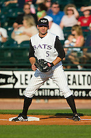 Louisville first baseman Joey Votto (5) on defense versus Charlotte at Louisville Slugger Field in Louisville, KY, Wednesday, June 6, 2007.