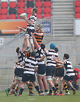 2015 ULSTER SCHOOLS CUP FINAL | Tuesday 17th March 2015<br /> <br /> Patrick Ferguson secures this lineout ball during the 2015 Ulster Schools Cup Final between RBAI and Wallace High School at the Kingspan Stadium, Ravenhill Park, Belfast, Count Down, Northern Ireland.<br /> <br /> Picture credit: John Dickson / DICKSONDIGITAL