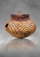Chalcolithic decorated terra cotta basket pot. Circa 5000BC. Catalhoyuk collection, Konya Archaeological Museum, Turkey. Against a grey background