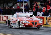 Feb. 12, 2012; Pomona, CA, USA; NHRA pro stock driver Jason Line during the Winternationals at Auto Club Raceway at Pomona. Mandatory Credit: Mark J. Rebilas-