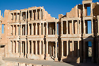 Sabratha, Libya, North Africa - Theater, Roman Ruins.  Construction begun 190 A.D., earthquake destroyed 365 A.D., reconstructed 1920s.
