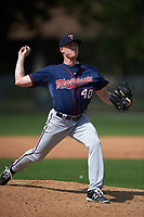 Minnesota Twins Cole Johnson (40) during a minor league Spring Training intrasquad game on March 15, 2016 at CenturyLink Sports Complex in Fort Myers, Florida.  (Mike Janes/Four Seam Images)