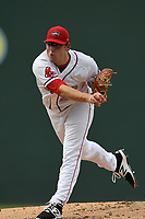 Starting pitcher Mike Shawaryn (24) of the Greenville Drive delivers a pitch in game one of a doubleheader against the Rome Braves on Tuesday, May 30, 2017, at Fluor Field at the West End in Greenville, South Carolina. Rome won, 10-7. (Tom Priddy/Four Seam Images)