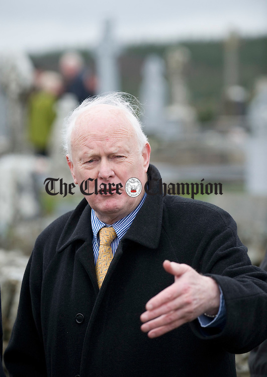 Muiris O Rochain of the Willie Clancy Summer school at the funeral of musician Joe Ryan in Inagh.