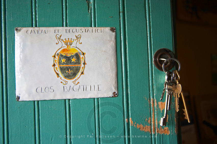 Clos Bagatelle, door to the tasting room, with keys St Chinian. Languedoc. France. Europe.