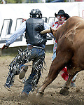 PRCA cowboy Andrew Soucie of Thedford, Nebraska takes a horn to the back after his unsuccessful attempt to ride the Cervi Championship Rodeo Company bull Error during the annual Father's Day Rodeo June 15, 2008 in Evergreen, Colorado.