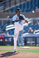 Surprise Saguaros relief pitcher Sterling Sharp (5), of the Washington Nationals organization, during the Arizona Fall League Championship Game against the Salt River Rafters on October 26, 2019 at Salt River Fields at Talking Stick in Scottsdale, Arizona. The Rafters defeated the Saguaros 5-1. (Zachary Lucy/Four Seam Images)