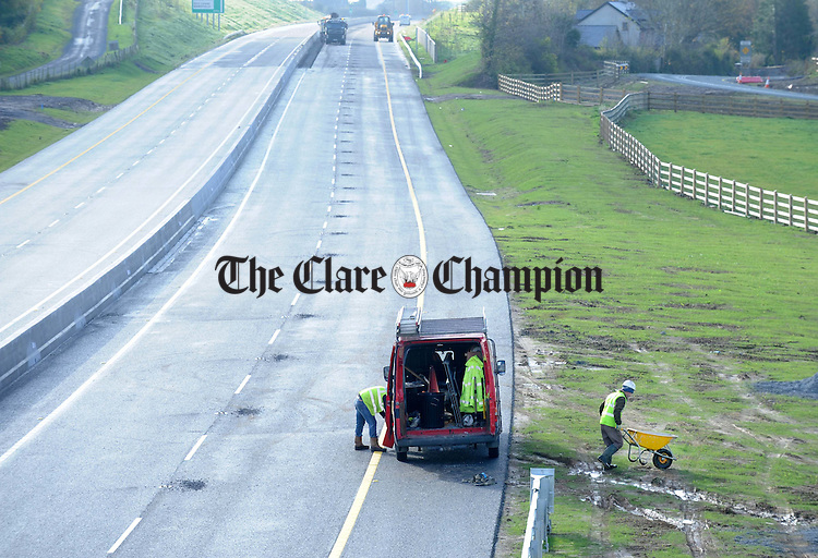 The final clean up taking place on the Gort to Crusheen bypass during the week. Photograph by Declan Monaghan