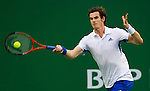 SHANGHAI, CHINA - OCTOBER 16:  Andy Murray of Great Britain returns a ball to Juan Monaco of Argentina during day six of the 2010 Shanghai Rolex Masters at the Shanghai Qi Zhong Tennis Center on October 16, 2010 in Shanghai, China.  (Photo by Victor Fraile/The Power of Sport Images) *** Local Caption *** Andy Murray
