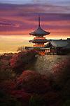 Sanjunoto pagoda, Sanju-no-to, with dramatic red yellow sunset skies, colorful autumn scenery. Kiyomizu-dera Buddhist temple, Higashiyama, Kyoto, Japan 2017. Image © MaximImages, License at https://www.maximimages.com