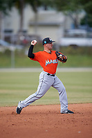 Miami Marlins Peter Mooney (3) during a Minor League Spring Training Intrasquad game on March 27, 2018 at the Roger Dean Stadium Complex in Jupiter, Florida.  (Mike Janes/Four Seam Images)