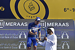 Race leader Elia Viviani (ITA) Quick-Step Floors wins overall  at the end of Stage 5 The Meraas Stage final stage of the Dubai Tour 2018 the Dubai Tour's 5th edition, running 132km from Skydive Dubai to City Walk, Dubai, United Arab Emirates. 10th February 2018.<br /> Picture: LaPresse/Fabio Ferrari | Cyclefile<br /> <br /> <br /> All photos usage must carry mandatory copyright credit (© Cyclefile | LaPresse/Fabio Ferrari)