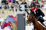 October 17, 2021: Leslie Law (GBR), aboard Voltaire de Tre', competes during the Stadium Jumping Final at the 5* level during the Maryland Five-Star at the Fair Hill Special Event Zone in Fair Hill, Maryland on October 17, 2021. Jon Durr/Eclipse Sportswire/CSM
