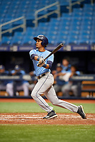 Carlos Vargas (21) follows through on a swing during the Tampa Bay Rays Instructional League Intrasquad World Series game on October 3, 2018 at the Tropicana Field in St. Petersburg, Florida.  (Mike Janes/Four Seam Images)
