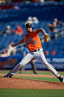 Baltimore Orioles relief pitcher Cody Carroll (49) delivers a pitch during a Grapefruit League Spring Training game against the Philadelphia Phillies on February 28, 2019 at Spectrum Field in Clearwater, Florida.  Orioles tied the Phillies 5-5.  (Mike Janes/Four Seam Images)