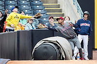Lehigh Valley IronPigs outfielder Nick Williams (4) makes a catch in foul territory against the Toledo Mud Hens during the International League baseball game on April 30, 2017 at Fifth Third Field in Toledo, Ohio. Toledo defeated Lehigh Valley 6-4. (Andrew Woolley/Four Seam Images)