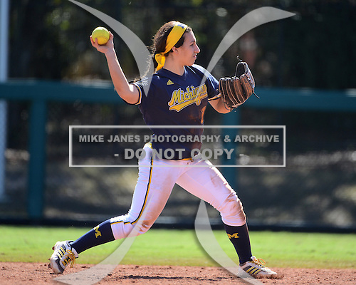 Michigan Wolverines Softball infielder Abby Ramirez (1) throws to first during a game against the Bethune-Cookman on February 9, 2014 at the USF Softball Stadium in Tampa, Florida.  Michigan defeated Bethune-Cookman 12-1.  (Copyright Mike Janes Photography)