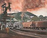 "Steam helper locomotive of the Pennsylvania Railroad shoving a coal train forward in the dusk at Shamokin, PA. Oil on canvas, 18"" x 22""."