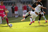 LOS ANGELES, CA - APRIL 17: Cecilio Domínguez #10 of Austin FC takes a shot during a game between Austin FC and Los Angeles FC at Banc of California Stadium on April 17, 2021 in Los Angeles, California.