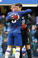 Chelsea's Kepa Arrizabalaga celebrates his sides win with teammate Ross Barkley<br /> <br /> Photographer Stephanie Meek/CameraSport<br /> <br /> The Premier League - Chelsea v Everton - Sunday 8th March 2020 - Stamford Bridge - London<br /> <br /> World Copyright © 2020 CameraSport. All rights reserved. 43 Linden Ave. Countesthorpe. Leicester. England. LE8 5PG - Tel: +44 (0) 116 277 4147 - admin@camerasport.com - www.camerasport.com