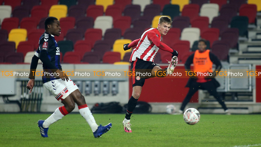 Marcus Forss of Brentford takes a shot at the Middlesbrough goal during Brentford vs Middlesbrough, Emirates FA Cup Football at the Brentford Community Stadium on 9th January 2021