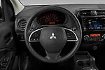 Car pictures of steering wheel view of a 2021 Mitsubishi Mirage ES 5 Door Hatchback Steering Wheel
