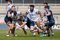 17th April 2021; AJ Bell Stadium, Salford, Lancashire, England; English Premiership Rugby, Sale Sharks versus Gloucester; Jonny May of Gloucester Rugby is tackled by Ross Harrison of Sale Sharks