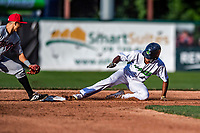 21 July 2019: Vermont Lake Monsters outfielder Kevin Richards slides safely into second with a double in the 4th inning against the Tri-City ValleyCats at Centennial Field in Burlington, Vermont. The Lake Monsters rallied to defeat the ValleyCats 6-3 in NY Penn League play. Mandatory Credit: Ed Wolfstein Photo *** RAW (NEF) Image File Available ***