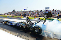 Sept. 22, 2012; Ennis, TX, USA: NHRA top fuel dragster driver J.R. Todd during qualifying for the Fall Nationals at the Texas Motorplex. Mandatory Credit: Mark J. Rebilas-