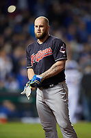 Cleveland Indians Mike Napoli (26) in the eighth inning during Game 4 of the Major League Baseball World Series against the Chicago Cubs on October 29, 2016 at Wrigley Field in Chicago, Illinois.  (Mike Janes/Four Seam Images)