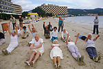 Elderly group people keeping fit Young at Heart British seniors on winter holiday in Balearic Islands Palma Nova Majorca Spain. 1980s