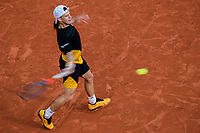 9th October 2020, Roland Garros, Paris, France; French Open tennis, Roland Garr2020;   Diego SCHWARTZMAN ARG hits a return during his match against Rafael NADAL ESP in the Philippe Chatrier court during the Semifinal of the French Open tennis tournament at Roland Garros