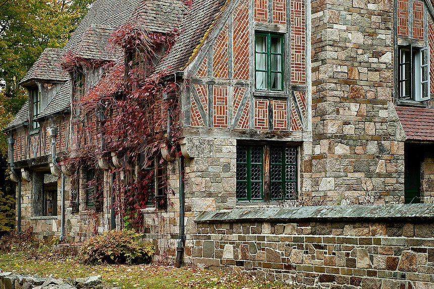 Tudor style gatehouse located by Jordon Pond within Acadia National Park. Built by John D. Rockefeller