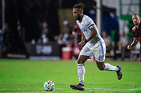 LAKE BUENA VISTA, FL - JULY 22: Kendall Waston #2 of FC Cincinnati dribble the ball during a game between New York Red Bulls and FC Cincinnati at Wide World of Sports on July 22, 2020 in Lake Buena Vista, Florida.