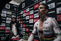 Wout Van Aert (BEL/Crélan-Charles) catching his breath post-finish in the press-tent (after finishing 2nd)<br /> <br /> Super Prestige Ruddervoorde / Belgium 2017