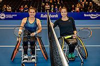 Alphen aan den Rijn, Netherlands, December 22, 2019, TV Nieuwe Sloot,  NK Tennis, Final wheelchair:  Marjolein Buis (NED) and Jiske Griffioen (NED) (R) before the match<br /> Photo: www.tennisimages.com/Henk Koster