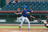 AZL Rangers second baseman Kenen Irizarry (19) at bat during an Arizona League game against the AZL Giants Black at Scottsdale Stadium on August 4, 2018 in Scottsdale, Arizona. The AZL Giants Black defeated the AZL Rangers by a score of 6-3 in the second game of a doubleheader. (Zachary Lucy/Four Seam Images)