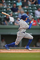 Third baseman Manny Olloque (3) of the Lexington Legends bats in a game against the Greenville Drive on Wednesday, April 12, 2017, at Fluor Field at the West End in Greenville, South Carolina. Greenville won, 4-1. (Tom Priddy/Four Seam Images)