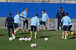 Atletico's players during a training session the day before quarterfinal first leg Champions League soccer match against Real Madrid at Vicente Calderon stadium in Madrid, Spain. April 13, 2015. (ALTERPHOTOS/Victor Blanco)